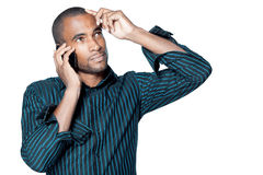 Black man with cellphone Stock Photos