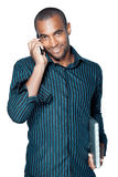 Black man with cellphone Royalty Free Stock Images