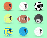 Black man character cartoon hang and clutch sports ball to prevent to falling down with green background. Flat graphic. logo vector illustration