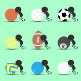 Black man character cartoon push sports ball forward with green background. Flat graphic. logo design. sports cartoon. sports ball. S .vector. illustration Stock Images