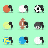 Black man character cartoon sad and recline to sports ball with green background. Flat graphic. logo design. sports cartoon. sport. S balls vector. illustration Stock Photography