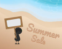 Black man character cartoon stand on sand at the beach and hold wood sign and it have paper on the board with write summer sale. On the sand. summer season Royalty Free Stock Photos