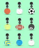 Black man character cartoon stand on sports ball and get the silver medal with green background. Flat graphic. logo design. Sports cartoon. sports balls Stock Images