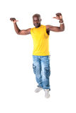 Black man cheerful. Black strong man smiling on white background Stock Photography