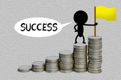 Black man climbing to the top of money for success concept Royalty Free Stock Photo