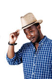 Black man with cowboy hat. Stock Photos