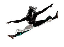 Black man dancer dancing capoeira  silhouette Royalty Free Stock Photography