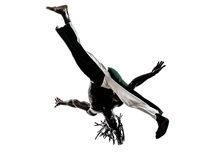 Black man dancer dancing capoeira  silhouette Royalty Free Stock Photo
