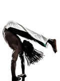 Black man dancer dancing capoeira  silhouette Stock Photography