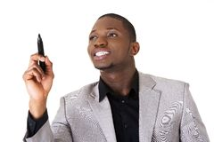 Black man drawing with a marker Royalty Free Stock Photo