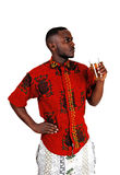 Black man drinking tee. Stock Images