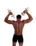 Black man with dumbbells. Stock Photography