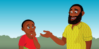 Black man explaining to child Stock Image
