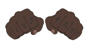 Black man fists with live fast tattoo. Black man clenched fists with fingers tattoo live fast. Color cartoon style illustration isolated on white Royalty Free Stock Photo
