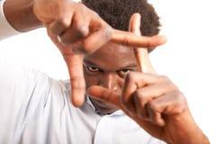 Black man framing face stock image