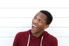 Black man with funny expression. Close up portrait of a handsome young black man with funny expression on face Royalty Free Stock Photography
