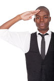 Black man gives salute Stock Photos