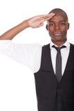 Black man gives salute Stock Photos
