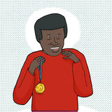 Black Man with Gold Medal Stock Photos