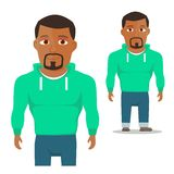 Black Man in green hoody Cartoon Character. Vector. Illustration Stock Photography