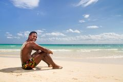 Black man happy. At the beach Royalty Free Stock Images