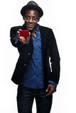 The black man with happy expression with credit card Stock Photo