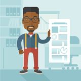 Black man happy standing inside his office Royalty Free Stock Photography