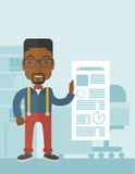 Black man happy standing inside his office Stock Images