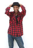 Black man with hat shouting Royalty Free Stock Photos