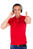 Black man having fun listening to music Royalty Free Stock Images
