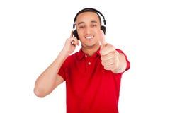 Black man having fun listening to music Royalty Free Stock Photo