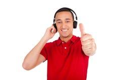 Black man having fun listening to music Royalty Free Stock Photography