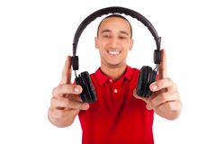 Black man having fun listening to music Stock Photo