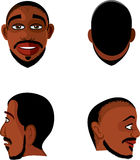 Black man head views Stock Image