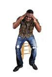 Black man with headache. royalty free stock photo