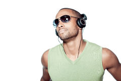 Black man with headphones Royalty Free Stock Photo