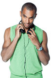 Black man with headphones Stock Photos