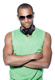 Black man with headphones Royalty Free Stock Images