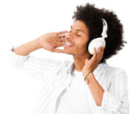 Black man with headphones Royalty Free Stock Image