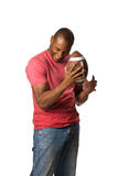 Black Man Holding Football Royalty Free Stock Images