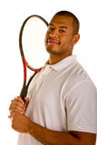 Black Man Holding Tennis Racket on Shoulder Stock Photography