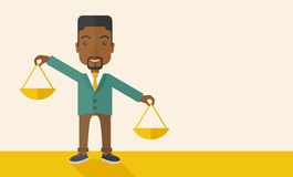 Black man holding a weighing scale Royalty Free Stock Photo