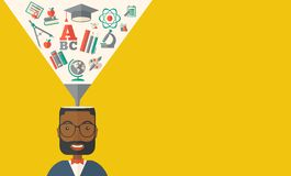 Black man with icons. Student ideas Stock Photography
