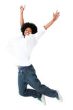 Black man jumping Stock Images