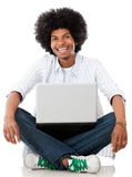 Black man with a laptop Royalty Free Stock Photo