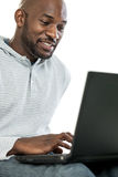 Black Man on Laptop Royalty Free Stock Photography