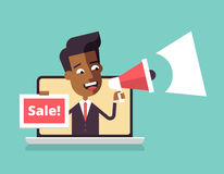 Black man leaning out of laptop screen. Sale Royalty Free Stock Photo