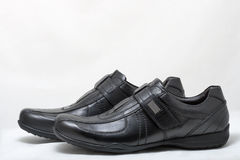 Black man leather shoes with velcro on white Stock Photo