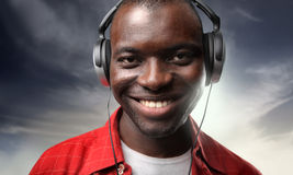 Black man listening music Royalty Free Stock Photo