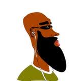 Black man listening to earphones Stock Image